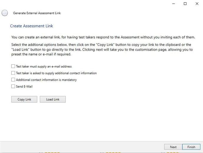 create assessment link